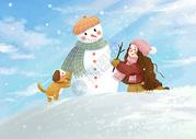 可爱雪人图片