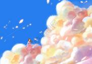 云朵中跳舞的女孩图片
