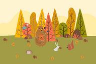 动物风景插画图片