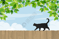 猫咪清新风景插画图片