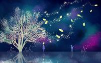 夜色树下的相遇图片