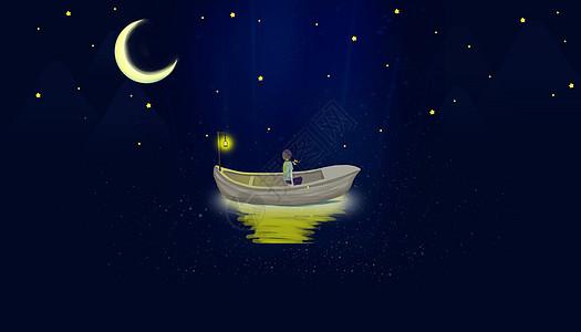 星空小船上的麋鹿图片