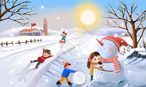 放学路上玩雪的孩子图片