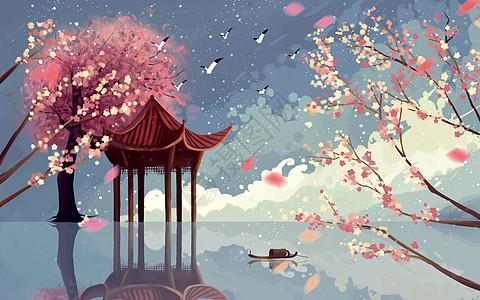 春天桃花亭仙境图片