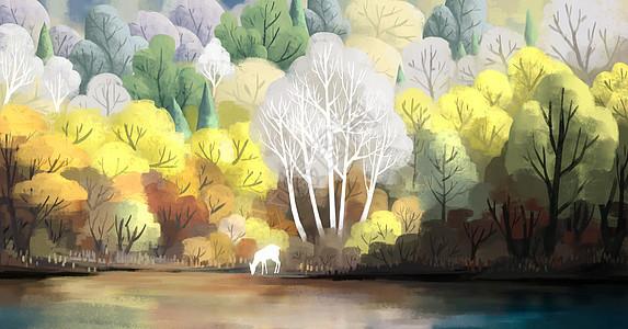 树林深处的小鹿图片