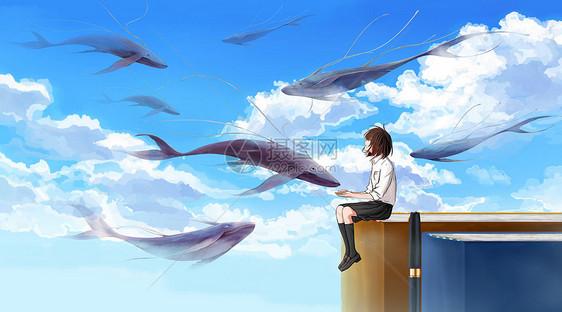坐在书上的女孩给鱼喂食图片