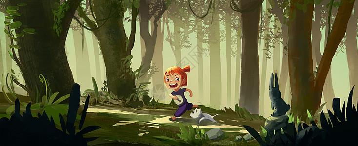 森林中玩耍的女孩图片