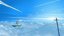 云海中的小船与少年插画图片