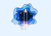 扁平化火箭插画图片