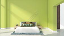 简约清新绿色卧室室内家居背景图片