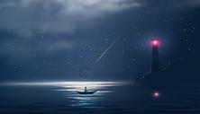 夜色大海下指引方向图片