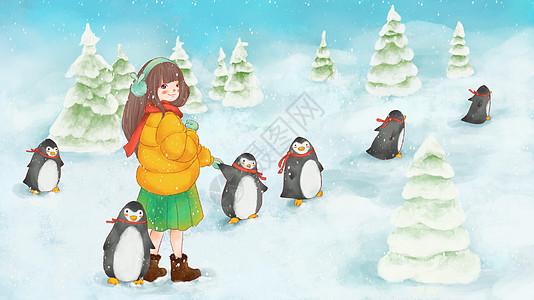 女孩与企鹅图片