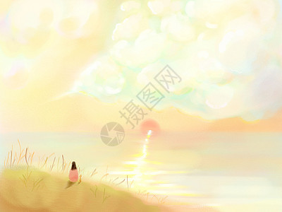 芦苇坡夕阳图片