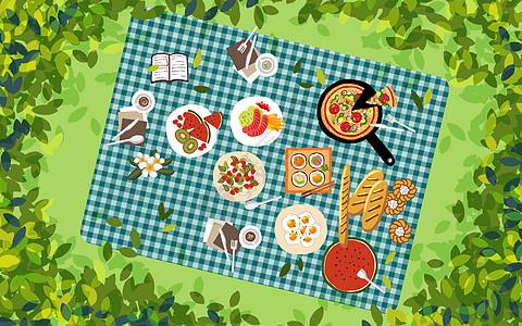 草坪野餐图片