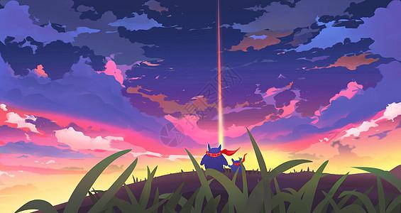 一起仰望天空图片