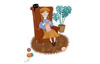 坐在沙发上织毛衣插画图片