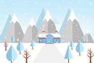 雪中的山林和房子图片