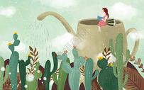 茶壶上看书的女孩图片