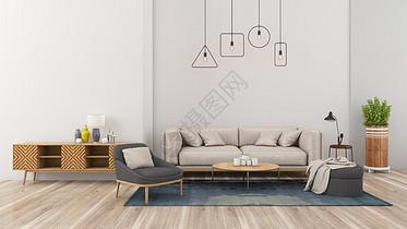 现代简约灰色系室内客厅家居背景图片