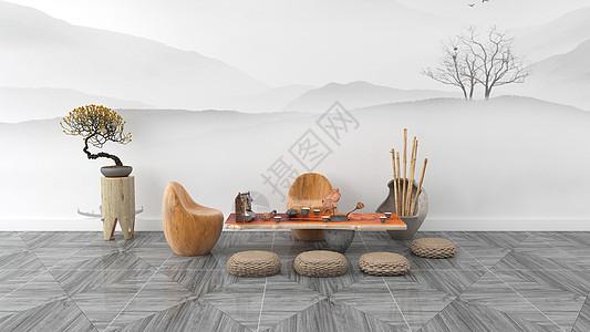 简约清新禅意中式古典风格室内家居背景图片