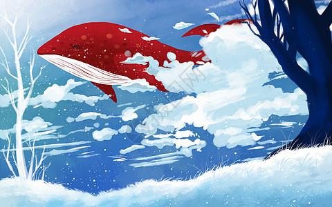遨游天空的鲸鱼图片