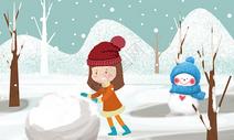堆雪人的小女孩图片