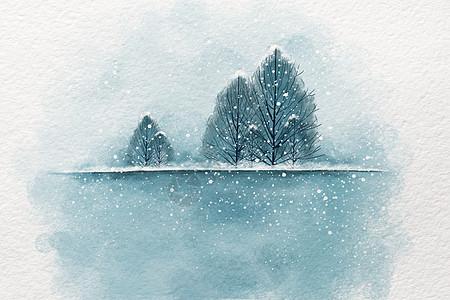 仿水彩雪景插画图片