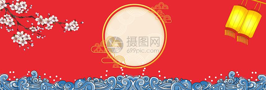 红色中国风新年背景图片