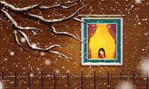 冬季窗外雪景图片