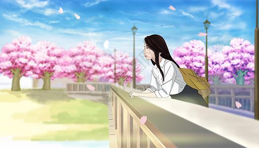 樱花桥上的少女图片