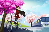 樱花树下的少女图片