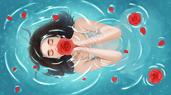 泡温泉的女子图片