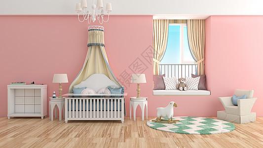简约粉色儿童房室内家居背景图片