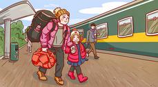 春运回家的路上温馨手绘插画图片