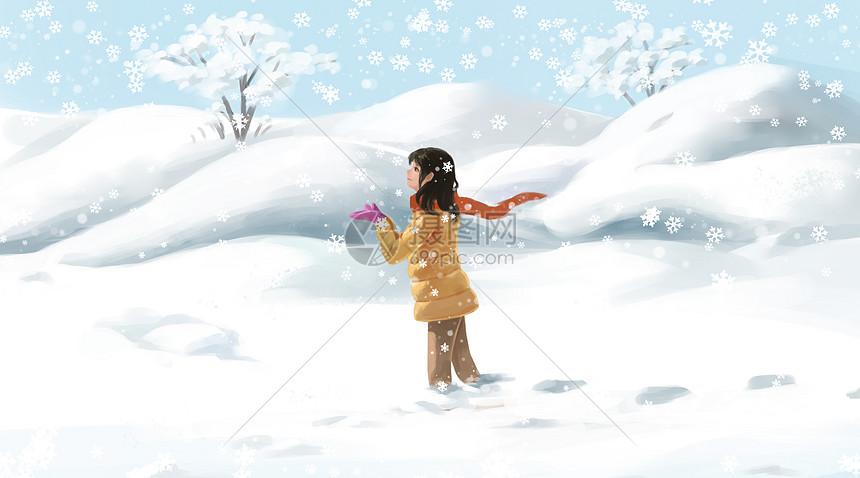 雪地的少女图片
