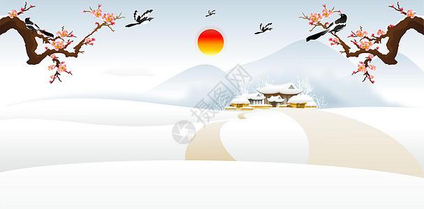 中国风过年雪景图片