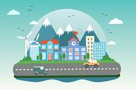 城市公路扁平插画图片