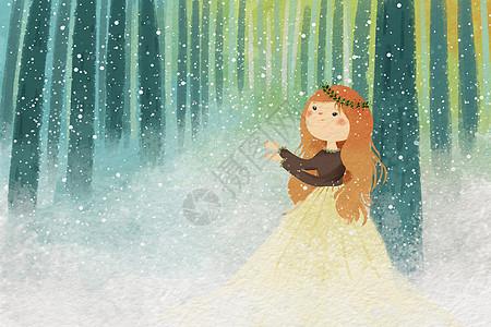 小清新雪景插画图片