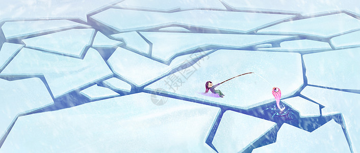 冰面钓鱼图片