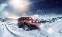 在雪地中飞速前进的车图片
