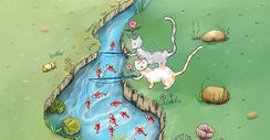 小猫钓鱼图片