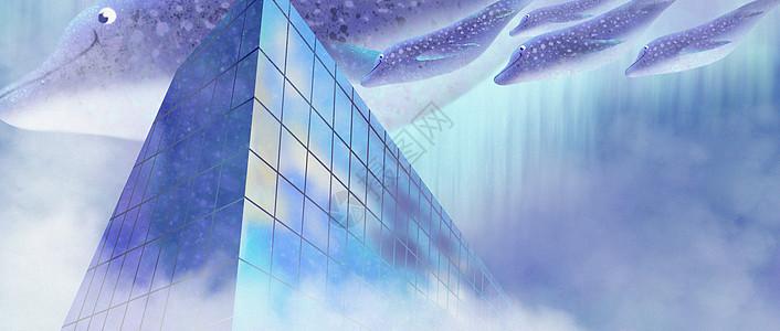 城市上空的海豚图片