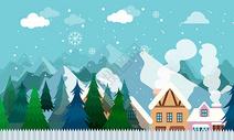 城市山丘雪景图片
