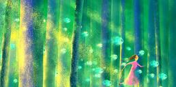 梦幻森林中奔跑的女孩图片