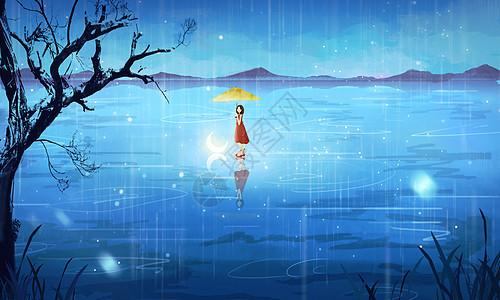 雨中的女孩图片
