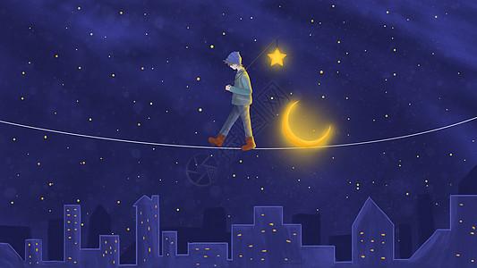 背着星星的少年插画图片