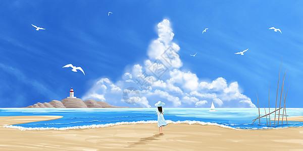 大海边眺望的少女插画图片