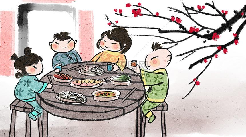 春节团圆年夜饭图片