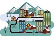 城市雪景图片
