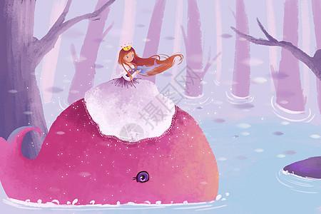 鲸鱼公主唯美插画图片